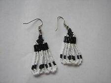 Seed beaded Earrings Handcrafted Black and white Looped Dangled 1 1/2""