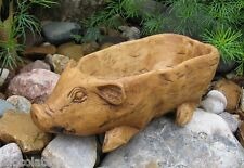 PIG Candle/Candy/Nut BOWL~Primitive Carved Wood Style*French Country Table Decor