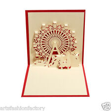 3D Ferris wheel Pop- up Birthday Greeting Card Paper-craft Paper-Cut Art, Red