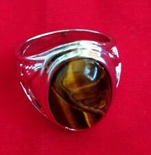 Ring Tiger Eye Thai amulet Talisman LP Holy Power Discernment Success Size 63 mm