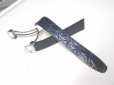 20 mm 20mm Blue Leather Band Strap with Silver Stainless Steel Deployment clasp