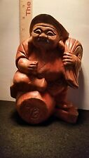 Japanese Antique Wood Carving God of Wealth DAIKOKU Statue.