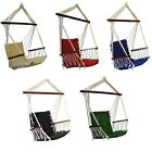 OMNI Patio Swing Seat Hanging Hammock Cotton Rope Chair With Cushion Seat