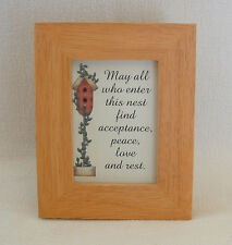 BIRDHOUSE Nest PEACE LOVE HOME Easel Back FRAMED TREASURES Verses Poems Plaques