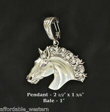 Rodeo Cowgirl ~ Crystal HORSEHEAD ~ Lrg Western Pendant Silver Horse Head Fancy