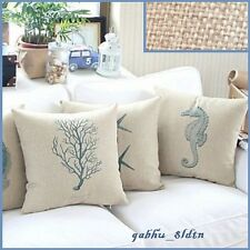 Set of 4 Sea Life Theme Cotton Decorative Pillow Cover Ocean Starfish Seahorse