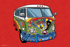 VW CAMPER - SUMMER OF LOVE ART POSTER - 24x36 VOLKSWAGEN HIPPIE PEACE 10125