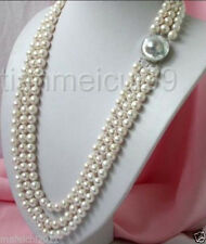 triple strand 8-9mm natural freshwater Cultured white pearl necklace 17-19''