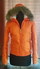 RALPH LAUREN ORANGE PUFFER DOWN JACKET FULL ZIP UP FRONT FAUX-FUR HOOD SIZE XS