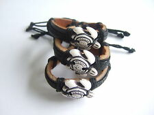 Genuine Leather Sea Turtle Charms Surfer Mens Womens Cuff Bracelet Wristband