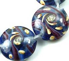 Lampwork Glass Blue Swirls Lentil Beads 18mm