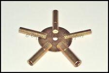 Clock Winding Key Brass Even Sizes Star Spider Bench 2 4 6 8 10 Winder 5 Prong