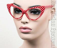 Large Cat Eye Glasses Pinup Vintage Style Polka Dot Cherry Red K77 Clear