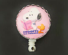 SNOOPY WOODSTOCK Peanuts Retractable ID Badge Reel/Key Card Holder/ pink