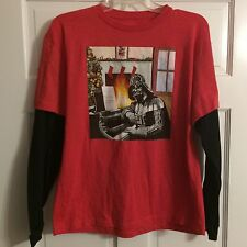 Star Wars Darth Vader Piano Fireplace Christmas Red T-Shirt Long Sleeve-Size XL