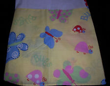 WHISPER SOFT MILLS Bed Skirt Dust Ruffle Bugs Butterfly's & Ladybug Twin Yellow