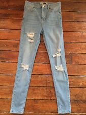 Topshop Moto Skinny Jeans Jamie Super Rip Blue Sz 10 W28 Fit L30 Defected Qd69