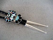 Auth.Native American Indian Zuni Silver/Multi Inlay Thunderbird Bolo Tie/Gasper