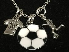 "Soccer Ball, Player, & Shirt Charm Tibetan Silver 18"" Necklace"