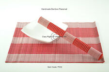 4 Handmade Bamboo Wood Placemats Table Mats, White - Red, P032