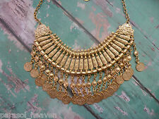 Gold Zamac Necklace, Tribal Belly Dance, Never Tarnish! Skin friendly Bohemian