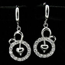 Heart Love Valentine Circle 18k GP White Gold Plated Drop Dangle Earrings Pairs