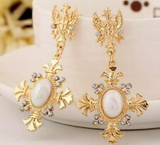 BEAUTIFUL ZARA BAROQUE STYLE GOLD WHITE CROSS DROP DANGLE EARRINGS NEW