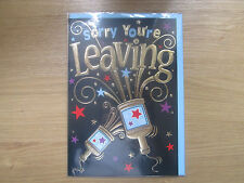 Sealed Sorry You're Leaving Greeting Card Black Gold Party Poppers (901)