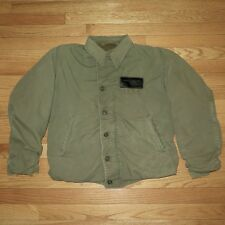 VINTAGE ORIGINAL WW2 USN US NAVY N-4 N4 FIELD DECK JACKET SIZE 38 LEATHER PATCH