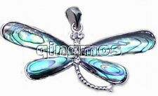 SALE Big 40mm dragonfly shape natural multicolor Abalone Shell Pendant 18K-pen36