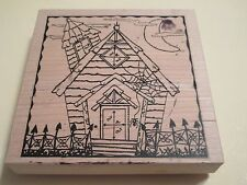 Limited Edition Haunted House Mounted Rubber Stamp, Halloween, Spooky, Boo