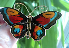 SUPERB LARGE Norwegian Silver & Enamel Butterfly Brooch - David Andersen Norway