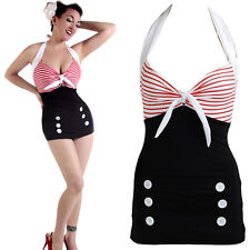 Stripe Black Vintage Pin up Rockabilly Sailor Swimsuit Badeanzug M (38-40)