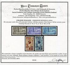 COLONIE EMISSIONI GENERALI 1934 PA CALCIO 5v. ** LUSSO CERT.