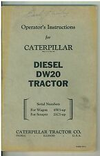Vintage  Owner's  Operating Manual Caterpillar Diesel DW20 Tractor