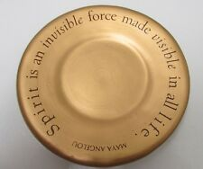 Hallmark Cards 2001 Maya Angelou Bronze Gold Candle Plate Used Dish Spirit Is An