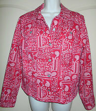 Denim Jean Jacket LARGE 14-16 Womens Red Charter Club Bandana Trucker Coat 5d19