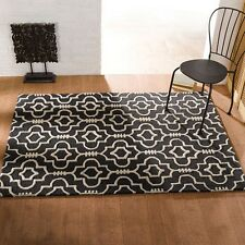 Moorish Morocco Charcoal Off White Handmade Wool Rugs Sculptured Pile 80x150cm