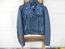 WOMEN'S VINTAGE DIAMOND LEATHER COLLECTION BLACK MOTORCYCLE JACKET WITH FRINGE a