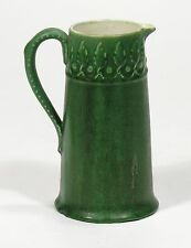Hampshire Pottery matte green glaze arts & crafts leaf design pitcher J S Taft