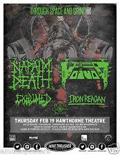 """NAPALM DEATH / VOIVOD """"THROUGH SPACE & GRIND TOUR"""" 2015 PORTLAND CONCERT POSTER"""