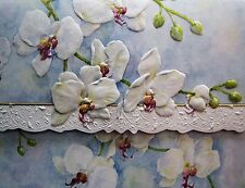 Carol Wilson Stationery 10 Note Cards Envelopes Blank White Orchid Floral