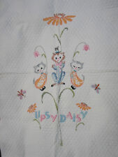 Whimsical Antique VTG Hand Embroidery Crib~Baby Quilt-Cats~Kittens-UPSY DAISY~