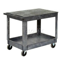 Best Value Plastic Flat Top Shelf Service & Utility Cart - 5 Inch Rubber ...