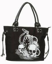 "Banned Apparel ""BACK IN NERO"" TESCHIO & CLOCK gotico rockabilly HANDBAG da donna"