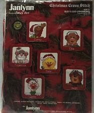 Janlynn Suzy's Zoo 6 Ornament Set 38-51 Christmas Counted Cross Stitch Kit New