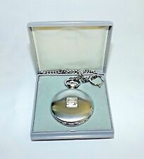 Modern Mercedes-Benz Pocket Watch with Original Chain and Box 17J Silver
