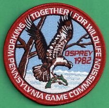 """Pa Pennsylvania Game Commission NEW 4"""" WTFW 1982 Osprey REPRODUCTION PATCH"""