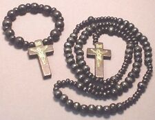 Rosary Wood Bead Gold Imprint Crucifix BONUS Bracelet Rosary BLACK Wow!
