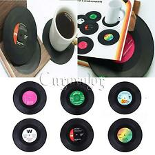 Set of 6 Vinyl CD Heat Insulation Coffee Tea Cup Mat Drinks Pad Coaster Placemat